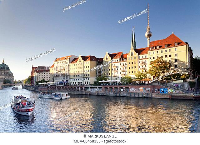 The Spree in the Nicholas' Quarter, Berlin cathedral and television tower, Berlin, Germany