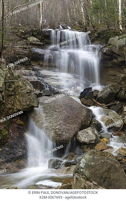 A seasonal waterfall in an old landslide path on the western flank of Mount Lafayette in Franconia Notch, New Hampshire during the spring months