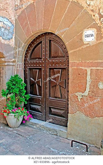 The door from 'El Miracle' Sanctuary, Benedictine monastery, 1899, Solsones, Catalonia, Spain