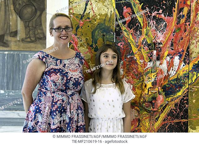 Australian Vice Ambassador Jo Tarnawsky, Australian young painter (12 years old ) Aelita Andre at the Museum of Civiltà in Rome ,ITALY-20-06-2019