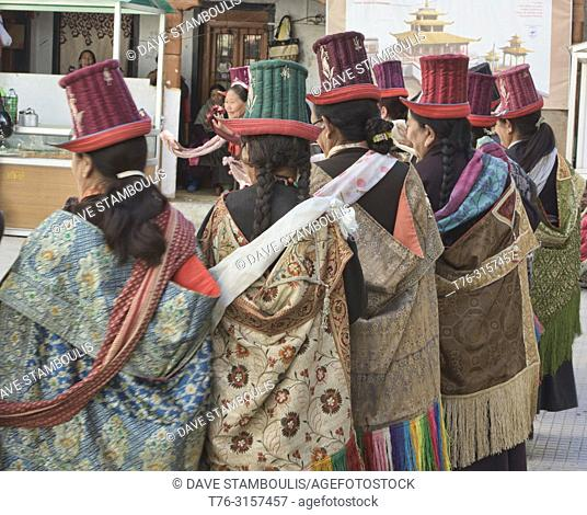 Ladakhi women in traditional dress at a Tara prayer gathering, Leh, Ladakh, India