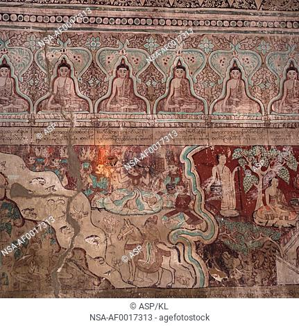 Decorated wall of Bagan Buddhist Temple