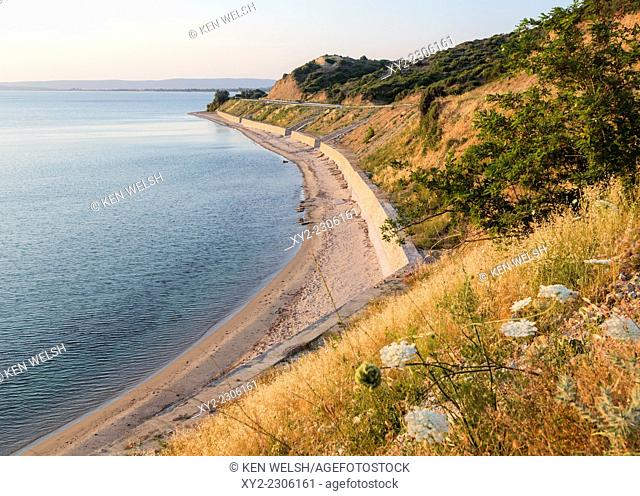 Anzac Cove, Gallipoli Peninsular, Canakkale Province, Turkey. The beach at Anzac Cove, looking north. Ari Burnu cemetery is on the point at the end of the beach