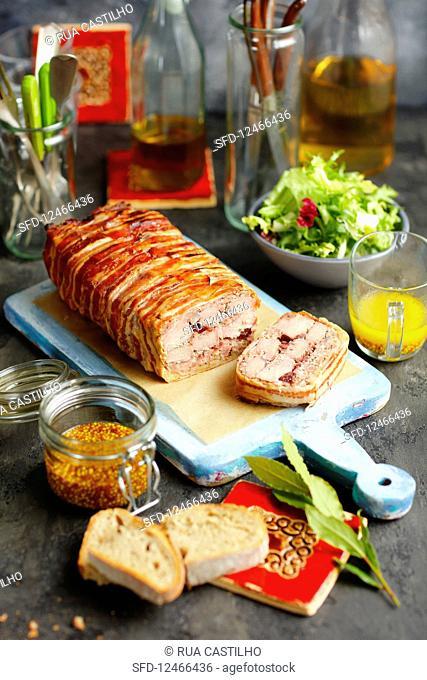 Pork tenderloin, crannberry jam and bacon terrine