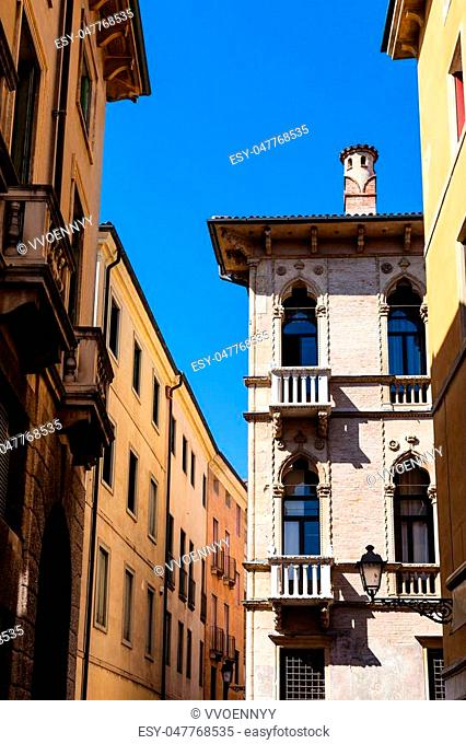 travel to Italy - palazzo and houses on Piazza dei Signori in Vicenza city in spring