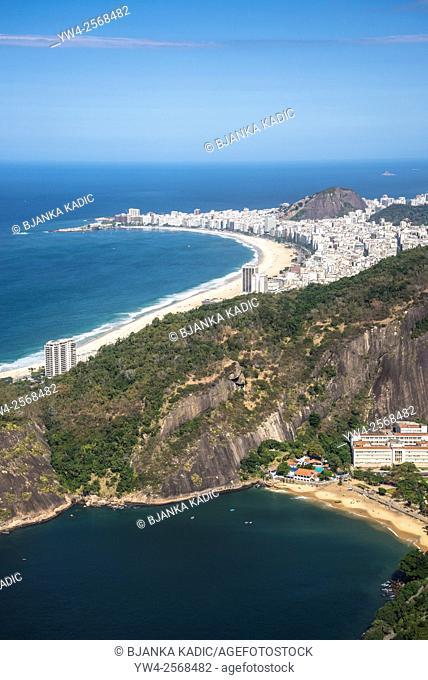 Aerial view of Rio with Copacabana Beach and Praia Vermelha seen from Sugar Loaf, Rio de Janeiro, Brazil