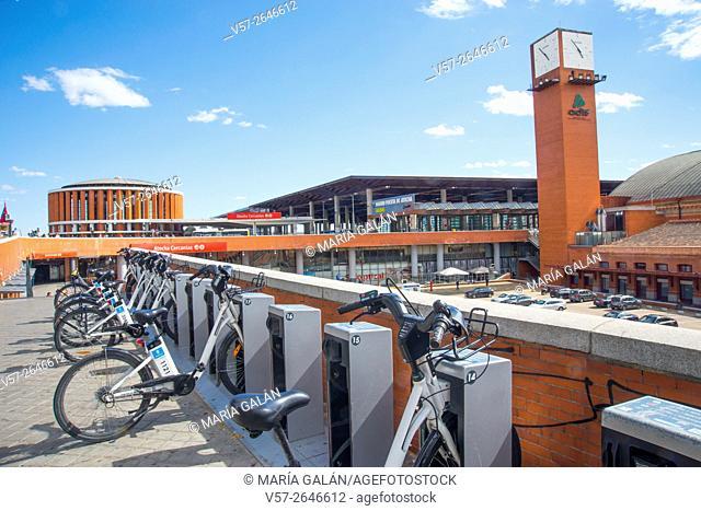 BiciMad bike parking. Puerta de Atocha Railway Station, Madrid, Spain