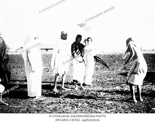 Leper Patient Parchure Shastri , Sushila Nayar , Rajkumari Amrit Kaur and Mahatma Gandhi at Sevagram Ashram , 1940 NO MR