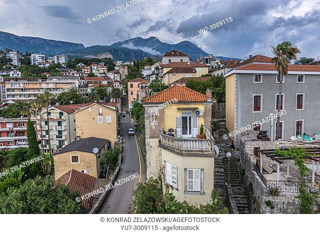 Cityscape of Herceg Novi on the Adriatic Sea Bay of Kotor coast in Montenegro