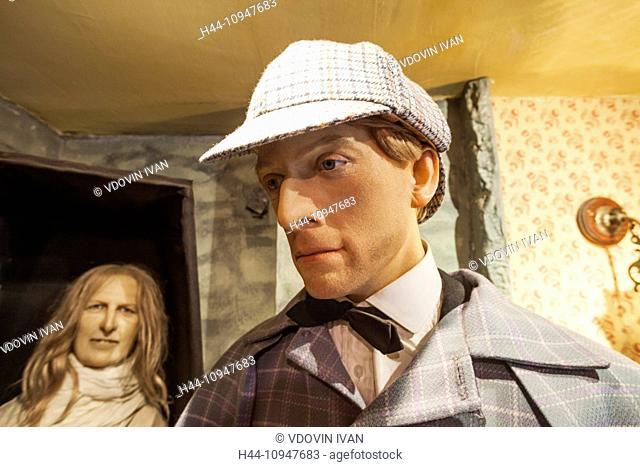 England, London, 221B Baker Street, Sherlock, Holmes, Museum, Waxwork Statue of Sherlock Holmes