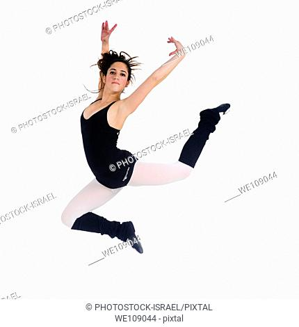 Female teen Ballet Dancer On white Background