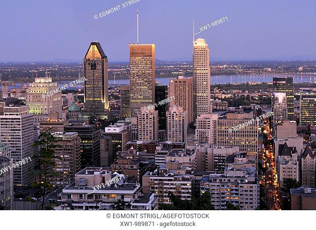dawn view from Mont Royal over downtown Montreal, Quebec, Canada, North America