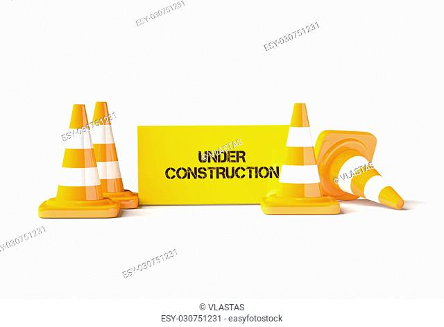 Traffic cones with work helmet and informatic table isolated on the white. 3D render image. There is image without text (empty table) in my portfolio