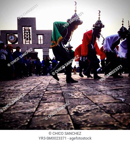 Dancers from Xocotlan, Puebla, perform the Moorish dance during the annual pilgrimage to the Our Lady of Guadalupe basilica in Mexico City, Mexico