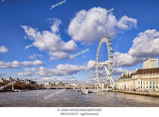 View of the River Thames downstream from Westminster Bridge to the Millenium Bridge, London Eye and County Hall, London, England, United Kingdom