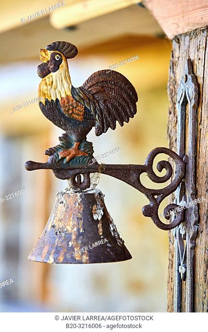 rooster bell, porch, Urain Apartments, Basque farmhouse, Deba, Gipuzkoa, Basque Country, Spain, Europe
