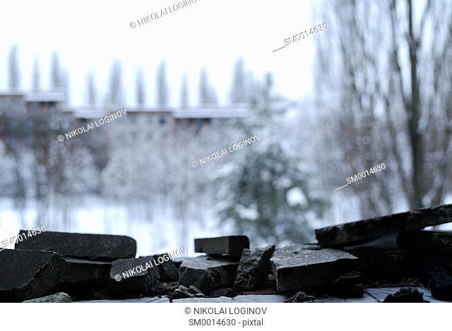 Debris stone frame bokeh backdrop