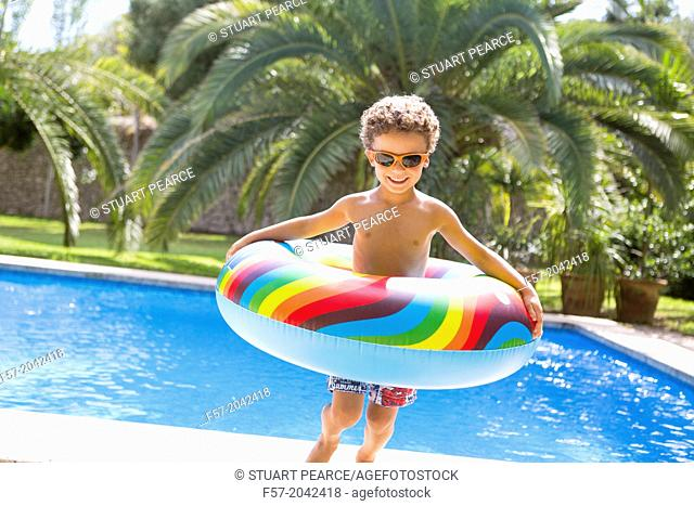 Young boy enjoys summer
