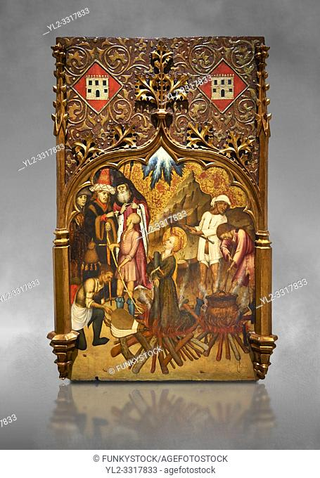 Gothic altarpiece tableau of the Archangel Gabriel by Joan Mates of Vlafranca de Penedes, circa 1410-1430, tempera and gold leaf on for wood from the church of...