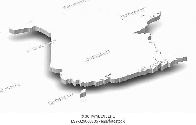 Map of New Brunswick, a province of Canada, as a gray piece with shadow