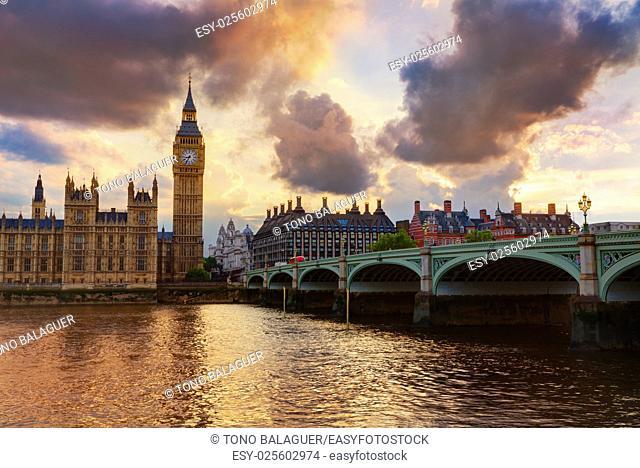 Big Ben Clock Tower London at Thames River England