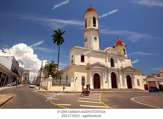 View the Purisima Concepcion Cathedral in Jose Marti Park, Cienfuegos, Cuba, West Indies, Central America