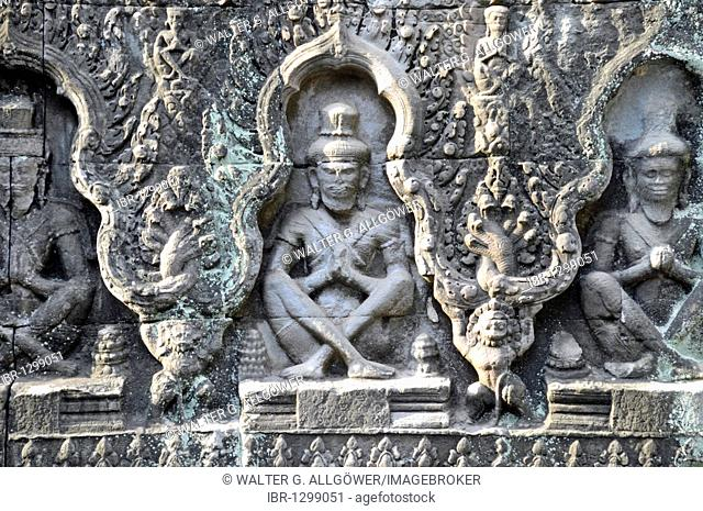 Relief, ruins of the Prasat Preah Khan temple complex, Angkor, UNESCO World Heritage Site, Siem Reap, Cambodia, Asia
