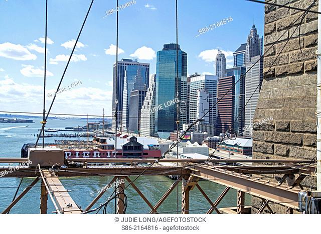 View of Lower Manhattan and the Wall Street Financial District, from the Brooklyn Bridge, New York City