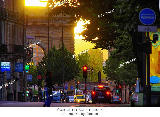 Cours Victor Hugo and Porte de Bourgogne gate, Bordeaux, Gironde, Aquitaine, France