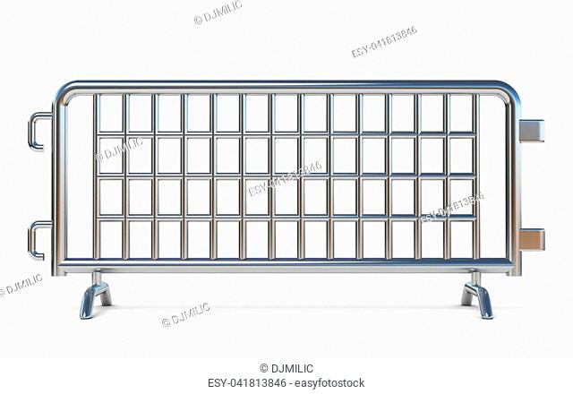 Steel barricades Front view 3D render illustration isolated on white background