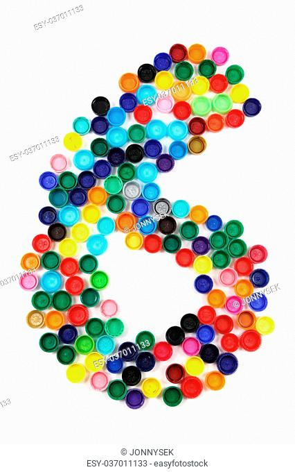 6 - number from the plastic caps isolated on the white background