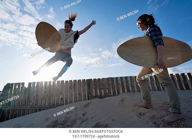 Surfers, Tarifa, Costa de la Luz, Cadiz, Andalusia, Spain