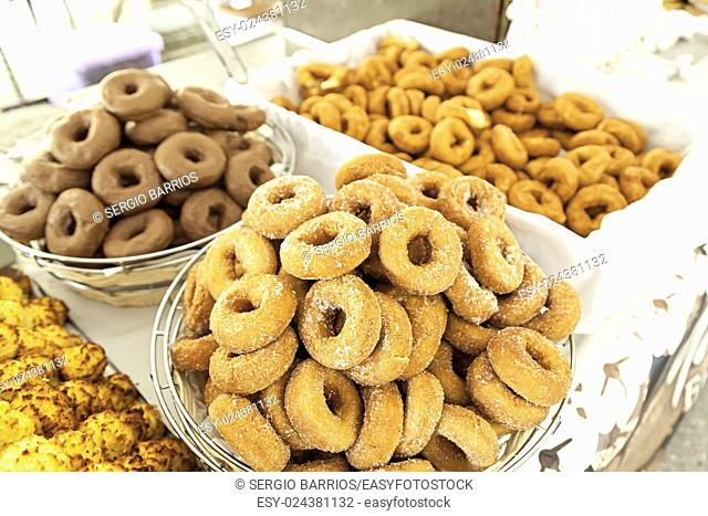 Homemade fried donuts, details of a typical Spanish dessert, food healthy, fresh food