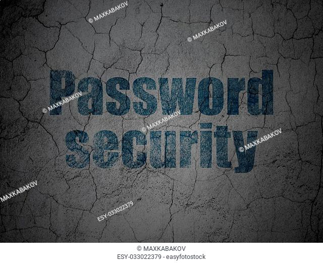 Security concept: Blue Password Security on grunge textured concrete wall background, 3d render