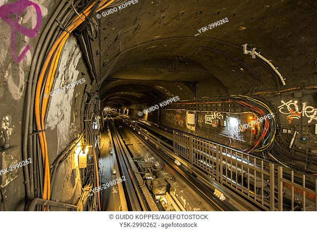 Paris, France. Underground subway tunnel departing southbound from Clignancourt Subway Station. Off limits to the general public