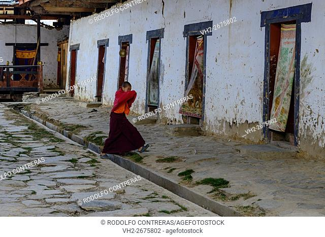 Novice monk at the monastery in Bhutan