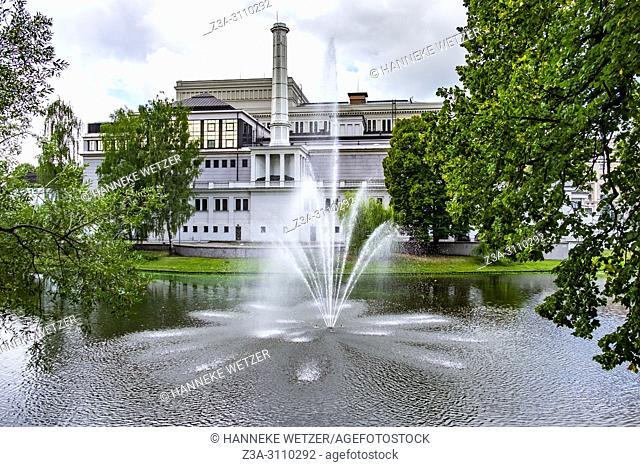 Fountain at the National Opera in Riga, Latvia, Baltic States