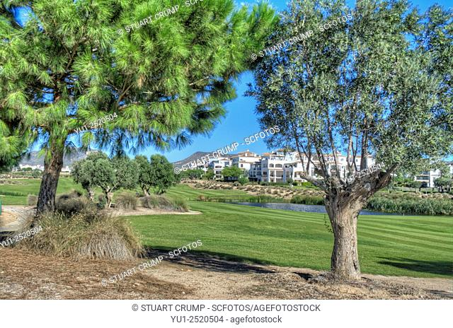 View from the green down the fairway of the par 5 11th hole at the Hacienda Riquelme Golf Resort, Murcia, Spain