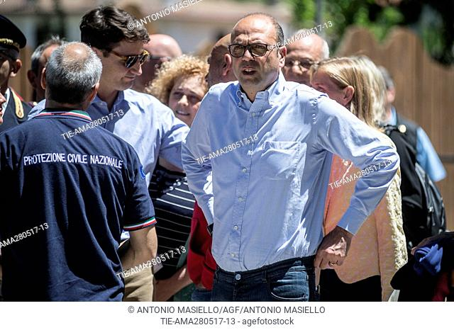 Canadian premier Justin Trudeau visits Amatrice, the country destroyed by the earthquake of August 24, 2016 accompanied by the Mayor Sergio Pirozzi and the...