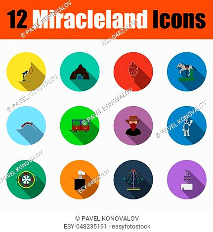 Set Of Miracleland Icons. Full Color Flat Design With Long Shadow. Vector illustration