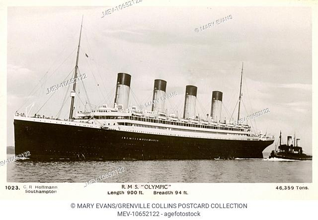 The RMS Olympic - White Star Line - sister ship of the ill-fated RMS Titanic. Mnay postcards have the incorrect ship depicted as the two were very similar