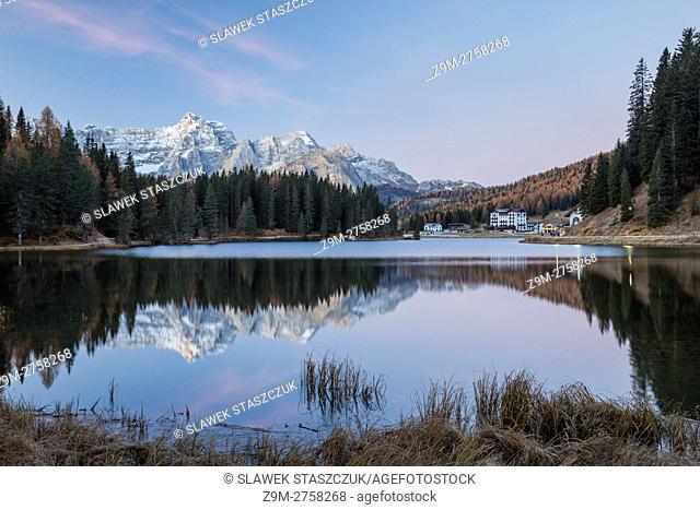 Before dawn at lake Misurina, Belluno province, Veneto, Italy