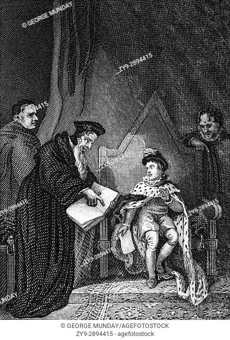 Thomas Cranmer (1489 - 1556), leader of the English Reformation and Archbishop of Canterbury persuading Edward VI (1537 - 1553) to sign the death warrant of...