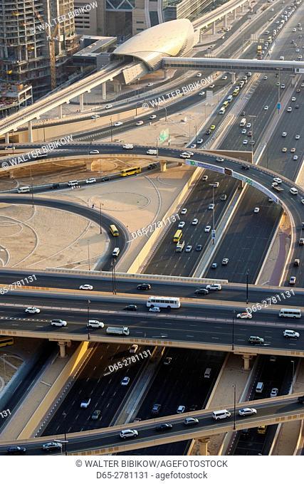 UAE, Dubai, Downtown Dubai, Sheik Zayed Road interchange, elevated view