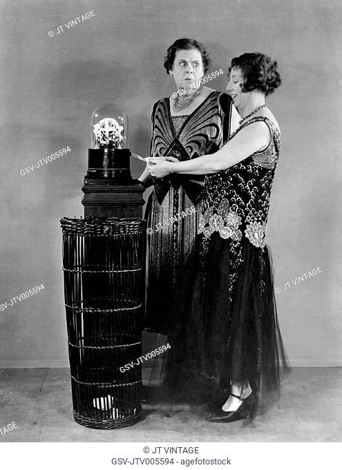 Marie Dressler, Polly Moran, on-set of the Film, Caught Short, 1930