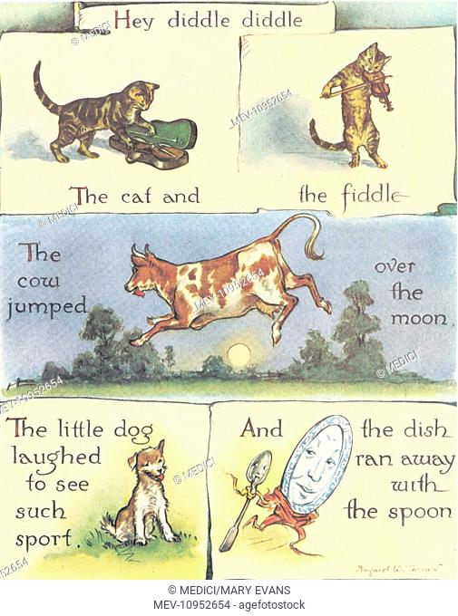 Cat with a fiddle, cow jumping, dog laughing and spoon with dish. Illustration for the nursery rhyme: 'Hey Diddle Diddle'
