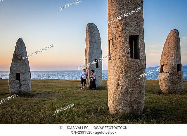 Couple, Menhires by Manolo Paz, Coruña city, Galicia, Spain