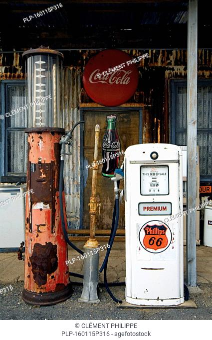 Vintage gas pump at petrol station of the General Store along the historic Route 66 in the Hackberry ghost town in Arizona, US