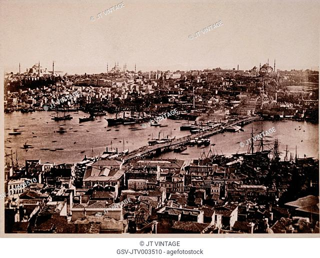 Constantinople (Istanbul) with Bridge over Bosphorus, circa 1885