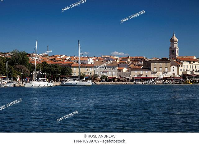 view over yacht harbour to the town Krk, Croatia